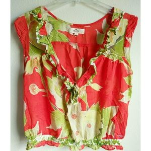 Hollister Red Green Floral Blouse Large